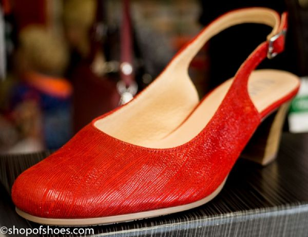 Alpina Bitola elegant textured red leather sling back